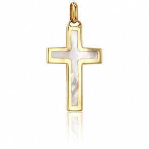 Croix Nacrée 27 x 17,3  mm Or Jaune 9K - Vandona