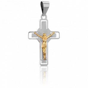 Christ en Croix de Nimbe Or Blanc 9K