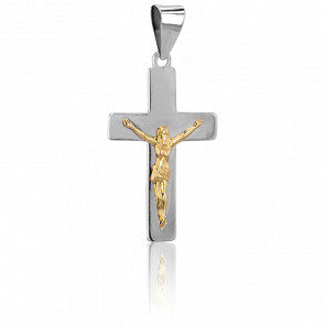 Christ en Croix 22 x 13,3 mm  Or Blanc 18K