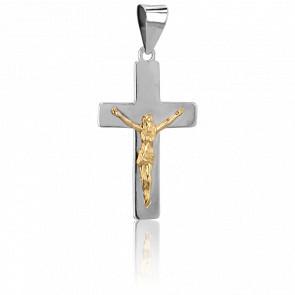 Christ en Croix 22 x 13,3 mm  Or Blanc 9K