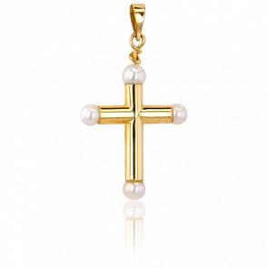 Croix Creuse Perles 25 x 20  mm Or Jaune 9K - Vandona
