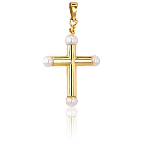 Croix Creuse Perles de Nacre Or Jaune 9K