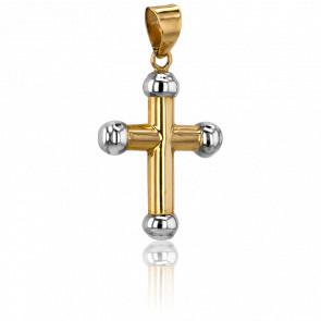 Croix Creuse Boules d'Or Blanc 18K