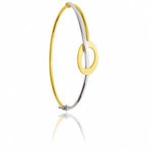 Bracelet Simple Ellipse Fil Rond Creux 2 Ors 18K