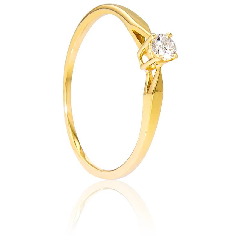 Bague Solitaire Paris Diamant 0,14ct & Or Jaune 18K