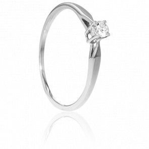 Bague Solitaire Paris Or Blanc & Diamant 0,14ct