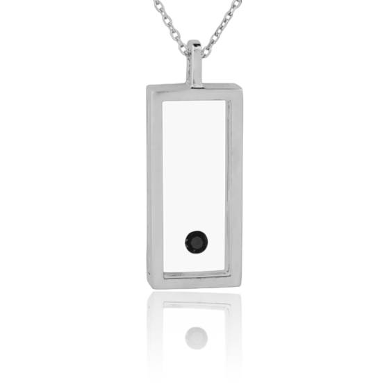 Favori Collier Rectangle Argent et Diamant Noir 0.08 carat - Ocarat TA77