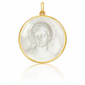 Médaille Vierge Amabilis Ronde Nacre & Or Jaune 18K