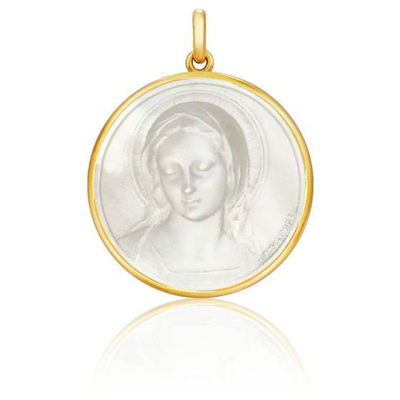 Médaille Vierge Amabilis Nacre & Or Jaune 18K