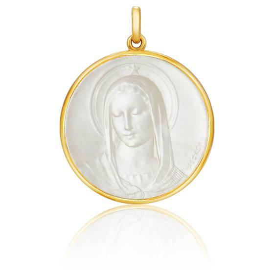 Médaille Vierge Maris Stella Nacre & Or Jaune 18K