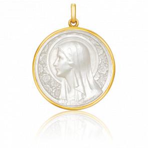 Médaille Vierge à l'Eglantier Ronde Nacre & Or Jaune 18K