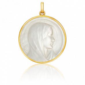 Médaille Vierge Annonciation Or Jaune 18K & Nacre