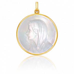 Médaille Vierge au Voile Ronde Nacre & Or Jaune 18K