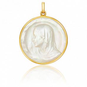 Médaille Vierge Regina Ronde Nacre & Or Jaune 18K