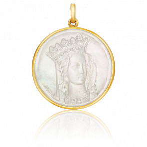 Médaille Vierge Notre Dame Nacre & Or Jaune 18K