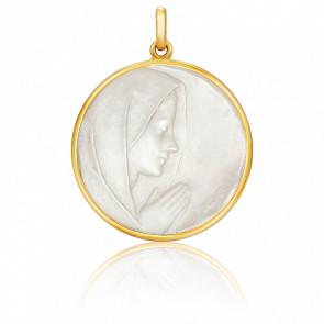 Médaille Vierge en Prière Ronde Nacre & Or Jaune 18K