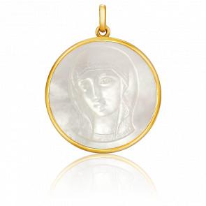 Médaille Vierge Byzantine Martelée 18 mm Nacre & Or Jaune 18K