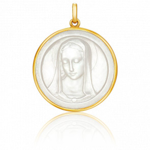 Médaille Vierge Santa Madona Ronde Nacre & Or Jaune 18K