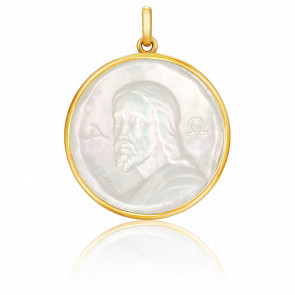 Médaille Christ Catacombes Nacre & Or Jaune 18K