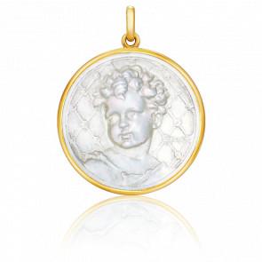 Médaille Enfant Ronde Nacre & Or Jaune 18K