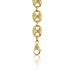 Bracelet Grain de Café Massif, Or Jaune 18K, longueur 17 cm