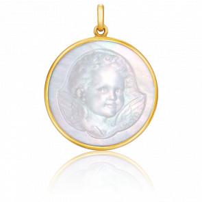 Médaille Ange Espiègle Nacre & Or Jaune 18K