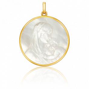Médaille Vierge Maternité Ronde Nacre & Or Jaune 18K