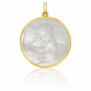 Médaille Enfant Jésus Or Jaune 18K & Nacre