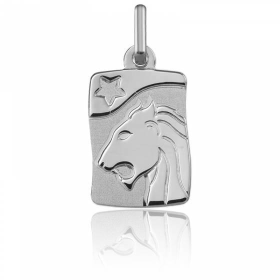 Pendentif Signe du Zodiaque Lion Or Blanc 9K