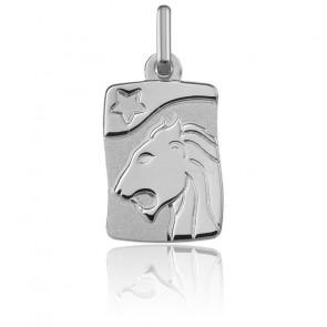 Pendentif Signe du Zodiaque Lion Or Blanc 18K