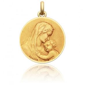Médaille Vierge Maternité Ronde Or Jaune 18K