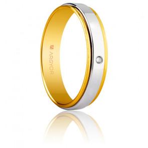 Alliance Izeda 5 mm Or Jaune & Blanc et Diamant