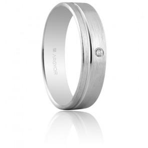 Alliance Almenar 5 mm Or Blanc & Diamant
