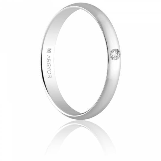 Alliance Carthagène 3 mm Diamant & Or Blanc 18K