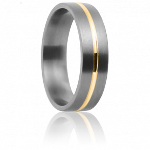 Alliance Cottos 6 mm, Titanium et Or Jaune - Aurodesign