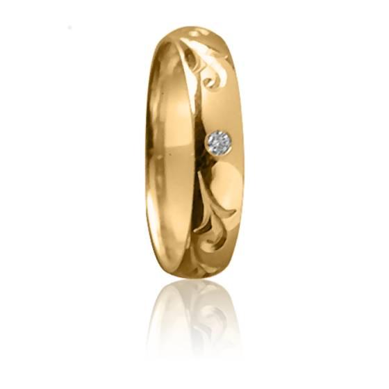 Alliance Majesté 4 mm Or Jaune et Diamant