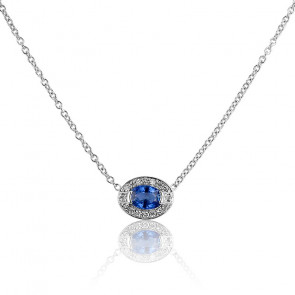 Collier Ovale Or Blanc 18K, Saphir et Diamant