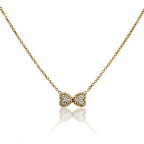 Collier Double Coeur Or Jaune 18K et Diamants
