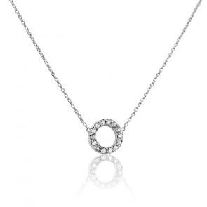 Collier Cercle Ø 7 mm Or Blanc 18K et Diamants
