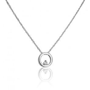 Collier Cercle Ø 8 mm Or Blanc 18K et Diamant