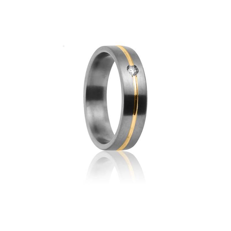 Alliance Cottos 5 mm Titanium Or Jaune et Diamant