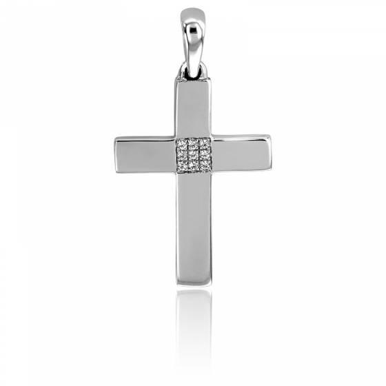 Pendentif Croix Diamanté Or Blanc 18K & Diamants
