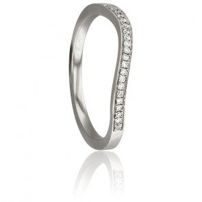 Bague Vague Diamantée Or Blanc 18K & Diamants