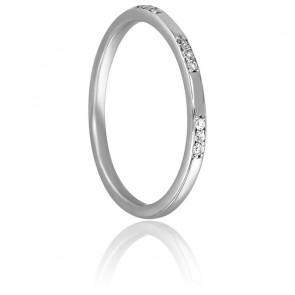 Bague Tripartite Or Blanc 18K & Diamants