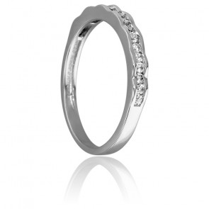 Bague Ondulation Or Blanc 18K & Diamants