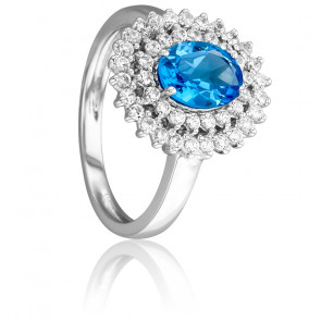 Bague Epiphyllum Bleue Or Blanc 18K, Topaze & Diamants