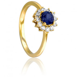Bague Thaïs, Or Jaune 18K, Saphir et Diamants