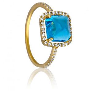 Bague Coussin Bleue Or Jaune 18K, Topaze et Diamants