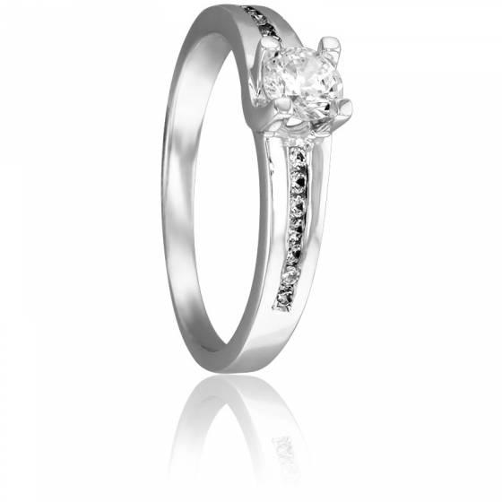 bague solitaire 1 rang e or blanc 18 carats diamants 0 40 carat juweel ocarat. Black Bedroom Furniture Sets. Home Design Ideas