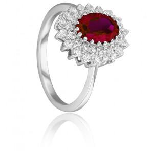 Bague Epiphyllum Rouge Or Blanc 18K, Rubis & Diamants